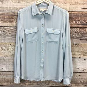 LOFT Long Sleeve Button Front Blouse M Light Blue